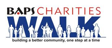 BAPS Charities logo. Building a better community, one step at a time.