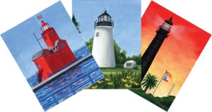 Three lighthouse thank-you and all-occasion cards